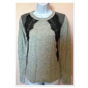 J. Crew Gray Black Lace Design Sweater Size Medium